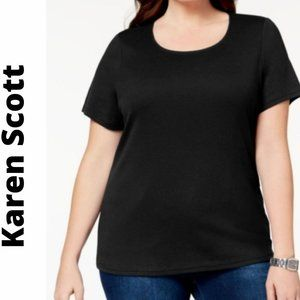 NWT Karen Scott T-Shirt Cotton Scoop-Neck Black
